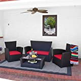 Sunnydaze Brisbane 4-Piece Rattan Patio Furniture Set, Red Cushions