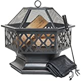 Outdoor Fire Pit for Garden and Patio, Large Hexagonal Fire Bowl; Includes Spark Guard, Poker and Protective Cover; Black and Bronze; 61 cm Width, 65 cm High - Foyer Extérieur