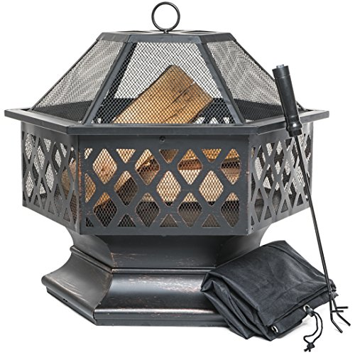 PRISP Outdoor Fire Pit for Garden and Patio, Large Hexagonal Fire Bowl; Includes Spark Guard, Poker and Protective Cover; Black and Bronze; 61 cm Width, 65 cm High