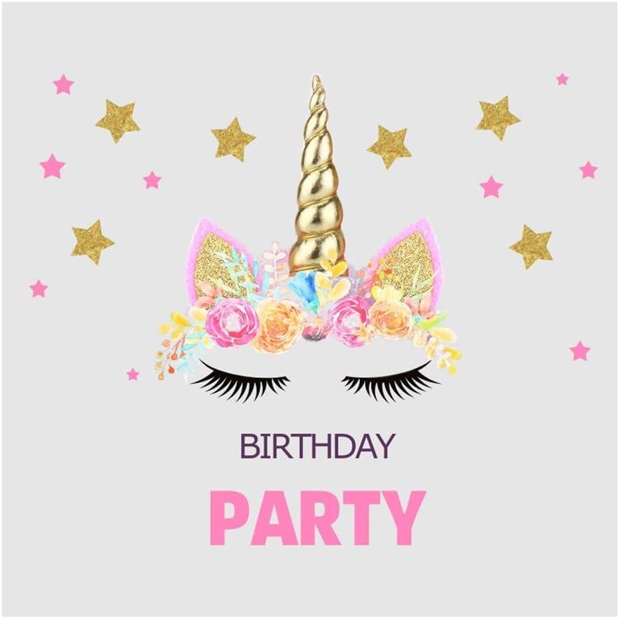 Yeele Birthday 9x9ft Photography Background Unicorn Eyelash Cartoon Birthday Party Golden Stars Pink Flower Decoration Photo Backdrop Baby Child Portrait Shooting Studio Props Wallpaper