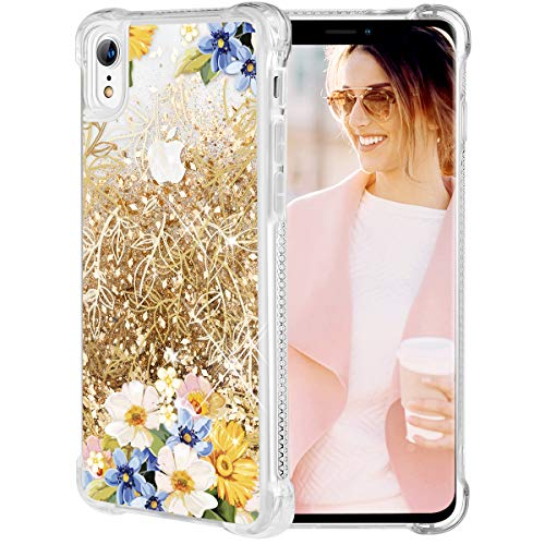Caka iPhone XR Case, iPhone XR Floral Glitter Case Flower Pattern Series Sparkle Fashion Bling Luxury Flowing Liquid Floating Cute Glitter Soft TPU Clear Yellow Flower Case for iPhone XR (Gold) -