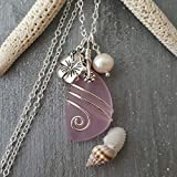 Handmade in Hawaii,'October Birthstone Color' wire wrapped pink sea glass necklace, Hibiscus, freshwater pearl, (Hawaii Gift Wrapped, Customizable Gift Message)