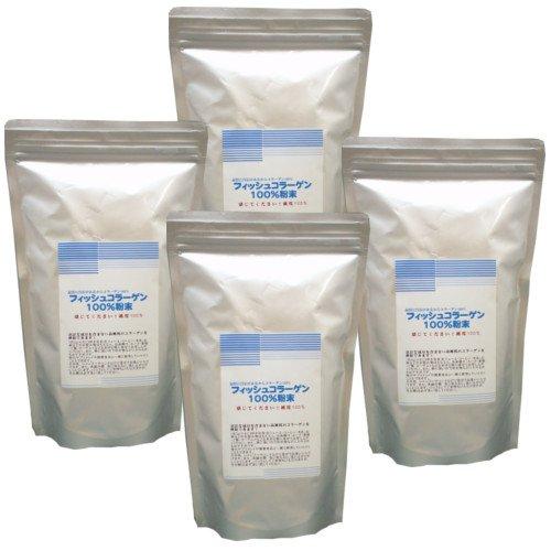 国産 フィッシュコラーゲン 100%粉末 (500g×3個セット+1個おまけ)2kg B01F13T8TE   500g×3個セット+1個おまけ