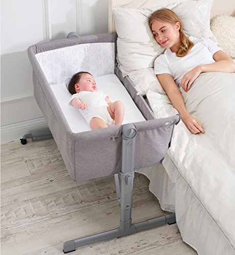 Minicuna Colecho Ibaby 2020 - Regulable Multialturas Reclinable - Colchon incluido Color Gris