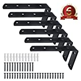 6 Pieces Heavy Duty L-Shaped Right Angle Brace Shelf Brackets Thickened Iron 5''x 3''(L x H) Brackets for Wall Hanging Furniture, Bookshelf, Decorative Exhibition, Free Screw Accessories Included