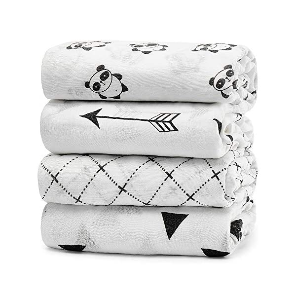 KiddyCare Baby Swaddle Blanket – Bamboo Muslin Swaddling for Boy and Girl – Soft Swaddles for Infants – Large 47″ x 47″Unisex Swaddle Wraps 4 Pack