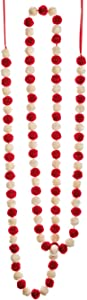 85 Inch Long Pom Pom Garland - Red and White - Christmas and Holiday Decor - 7 Foot Garland