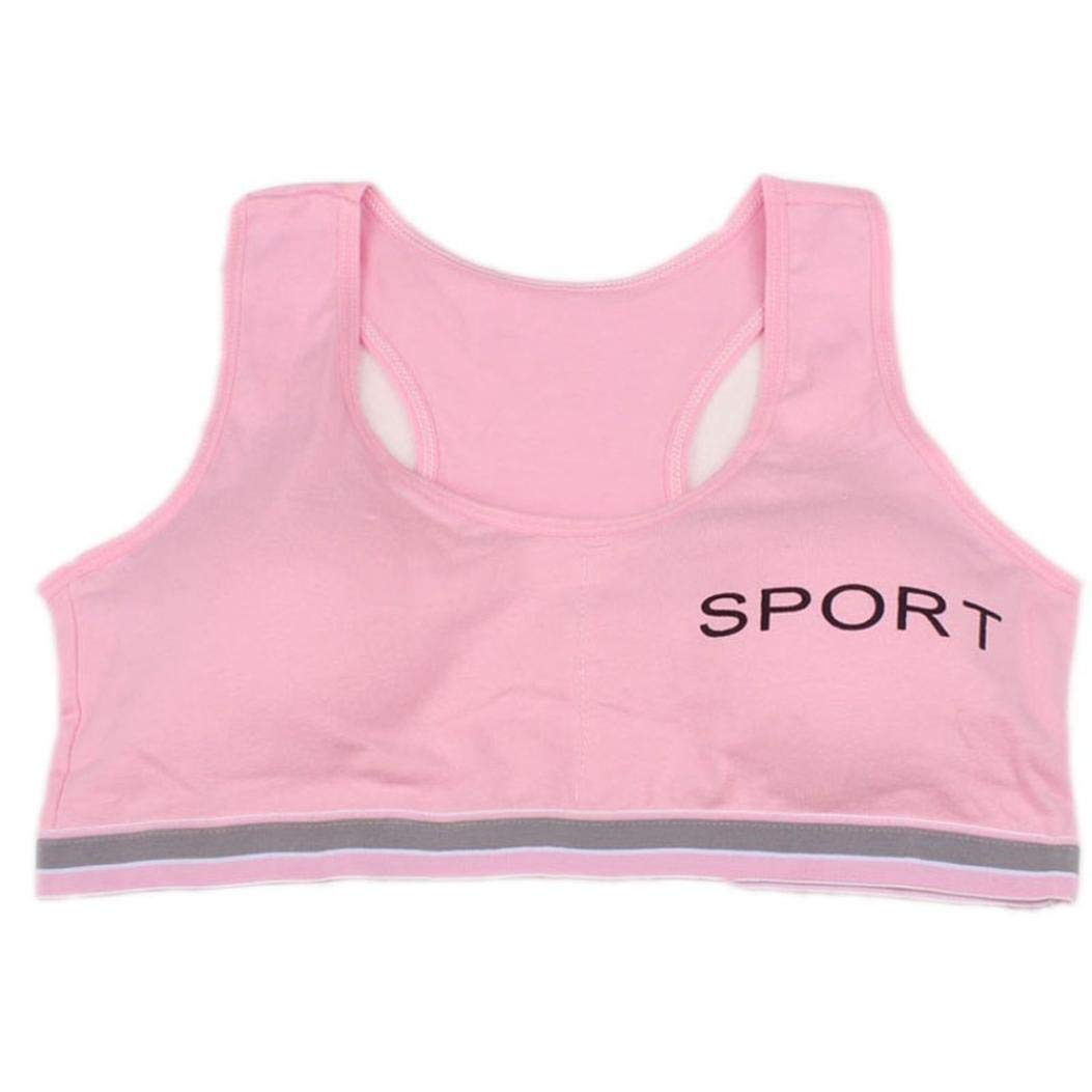 Moonker Big Girls' Crop Bra 10-15 Years Old,Teen Girls Kids Cotton Breathable Sports Training Bra Underwear Underclothes (10-15 Years Old, Pink) by Moonker (Image #1)