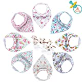 Baby Dribble Bib - Bandana Dribble Bibs Boys, Bandana Drool Bibs for Toddlers, Super Absorbent Soft Cute Bibs Girls, Ideal Baby Gift with 2 Adjustable Snaps - 8PCS (Girl-Style 2)