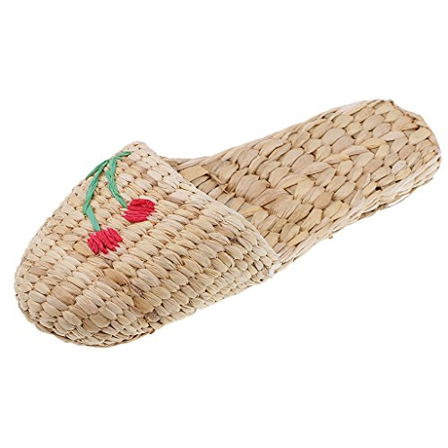 Straw 1 41 Unisex Massage Grass Chinese Woman Footwear Man Size Slides 37 Style MagiDeal Hand And Sandal Shoes Slippers Indoor Made Outdoor Summer ftRqzwBW6