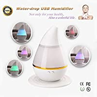 Smalody Mini Car Home Dual use USB Humidifier Water-drop Air Purifier Aroma Diffuser Mist Home Room Office Fresh Air(White)