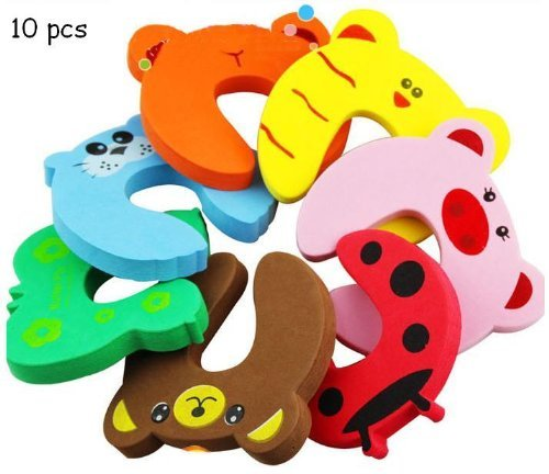 Cute Yellow Tiger Pink Pig Door Stoppers / Baby Finger Pinch Guard - Set of 10 Pcs Mommy Good Helper Color Send Randomly