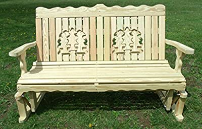 4 Ft Pressure Treated Pine Designs Unfinished Pines Cutout Outdoor Glider Bench