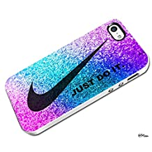 RCO - Just Do It Nike Rainbow Pink Glitter Custom Case for Iphone 4 4s 5 5c 6 6plus (Iphone 5c white)