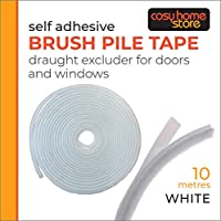 Brush Pile Draft Excluder, Self Adhesive Draught Excluder Seal 10m White