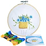 #4: Caydo Flower Basket Embroidery Starter Kit Including Embroidery Cloth with Printed Pattern, Bamboo Embroidery Hoop, Colored Thread, Instructions for Beginner