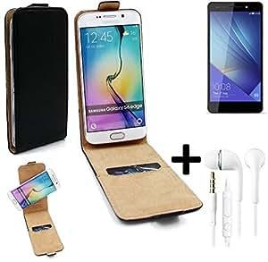 TOP SET: Caso Smartphone para Huawei Honor 7 Premium cubierta del estilo del tirón 360°, negro + Auriculares, cubierta del tirón - K-S-Trade   Funda Universal Caso Monedero cubierta del tirón Monedero Monedero