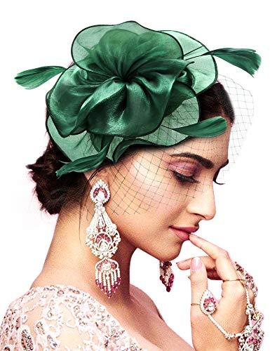 Hotvivid Fascinator for Women Tea Party Wedding Headband Mesh Feather Flower Hair Clip (Green)