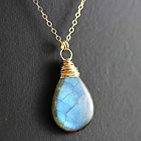"Labradorite Stone Gold Fill Wire Wrapped Pendant Necklace - 18"" Length"