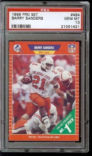 Barry Sanders Pro Football (1989 Pro Set Football #494 Barry Sanders Rookie RC Lions HOF PSA 10)