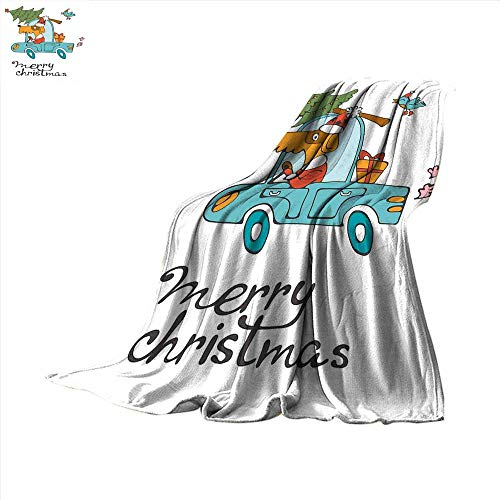 smallbeefly Christmas Digital Printing Blanket Blue Vintage Car Dog Driving with Santa Costume Cute Bird Tree and Gift Present Summer Quilt Comforter 60