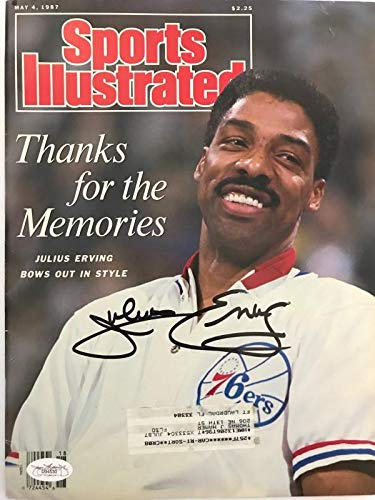 Julius Erving Signed Sports Illustrated May 4 1987 (JSA) - Autographed NBA Magazines