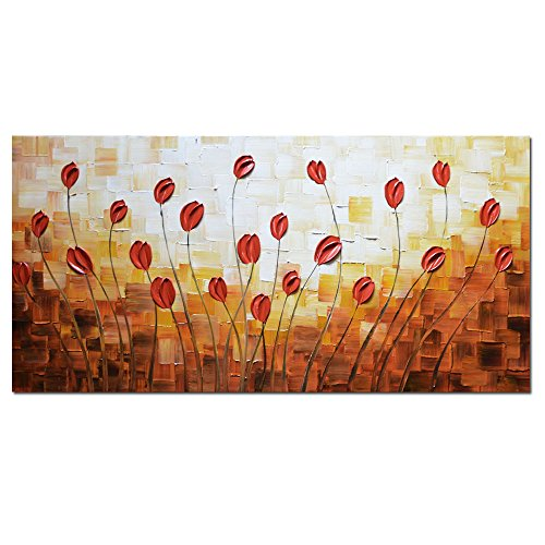 Asdam Art - Oil Paintings on Canvas Budding Flowers 100% Hand-Painted On Canvas Abstract Artwork Floral Wall Art Decorative Pictures Home Decor Red (24X48 inch)