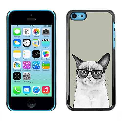 TaiTech / Case Cover Housse Coque étui - Siamese Cat Drawing Angry Glasses Art Hipster - Apple iPhone 5C