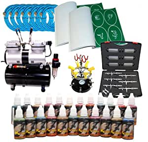Ultimate Temporary Tattoo 6 Airbrush Kit with S66 Airbrushes, Master Compressor TC-828, 6 Air Hoses, 200, Tattoo Stencils & 28 Custom Body Art Colors