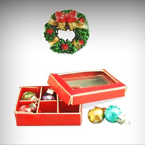 Miniature Reutter Porcelain Christmas Ornaments and Wreath Dollhouse Miniatures - My Mini Garden Dollhouse Accessories for Outdoor or House Decor