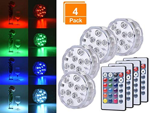 Browill [4 Pack Submersible LED Lights, 10 RGB LEDs 16 Colors Waterproof Underwater Lights with 4 Remote Control for Aquarium Vase Base Pond Pool Garden Home Party Wedding Christmas Decoration ()