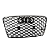 ZMAUTOPARTS Honeycomb Mesh Hex Grille Gloss Black with Chrome Trim For 2012-2015 Audi A7 / S7