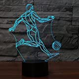 3D Kick Soccer Night Light 7 Color Change LED Table Desk Lamp Acrylic Flat ABS Base USB Charger Home Decoration Toy Brithday Xmas Kid Children Gift