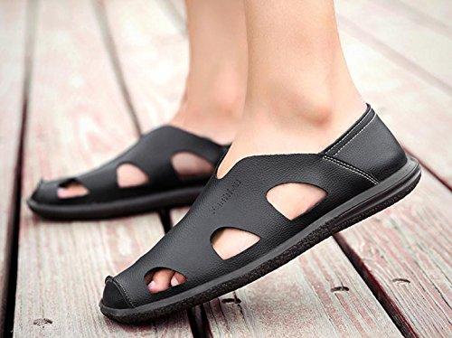 Los zapatos de cuero de las sandalias de los hombres de cuero nuevo verano hueco sandalias de hombres de mediana edad 1