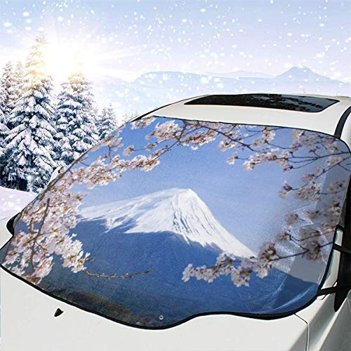 (SHNUFHBD Car Windshield Cover Blocks Snow, Ice, Sun Japanese Mountain Fuji Cherry Blossom Crane Weatherproof Protector Blocks Heat& Sun Fits Most Car, SUV, with Storage Bag)