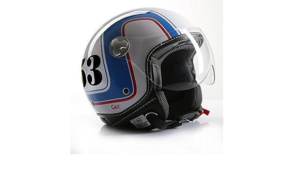 Amazon.es: Casco de Moto Jet Roller CMX Cafe Racer, número 53, Blanco/Azul/Rojo
