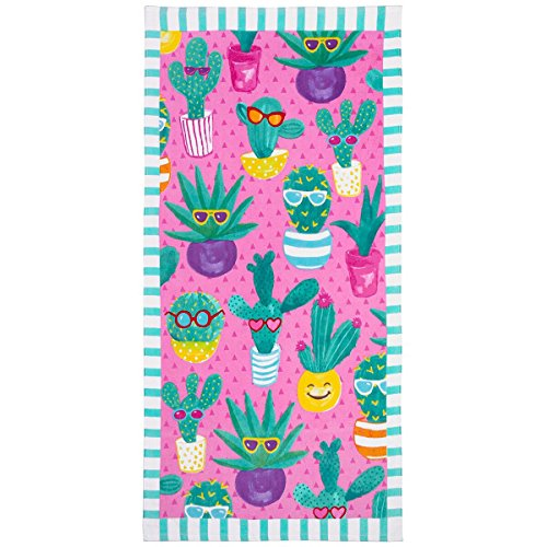 3C4G Cactus Cool Cotton Terry Velour Beach Towel Green