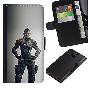 A-type (Juego de la mujer del guerrero gris héroe) Colorida Impresión Funda Cuero Monedero Caja Bolsa Cubierta Caja Piel Card Slots Para HTC One M8