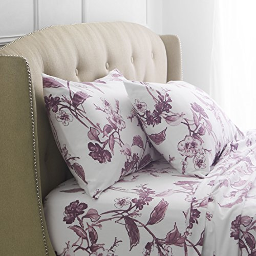 -Gram Cotton Heavyweight Velvet Flannel Sheet Set - Cal King, Floral Amethyst (Velvet Floral Sham)
