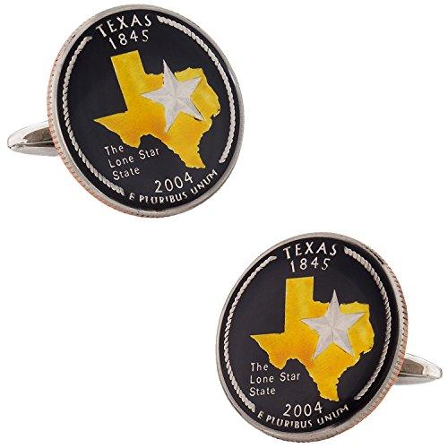 Cuff-Daddy Hand Painted Texas Quarter Coin Cufflinks with Presentation Box