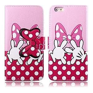 WQQ patrón bowknot rosa cubierta de cuero de la PU con el soporte y la ranura para tarjeta para el iPhone 6 Plus