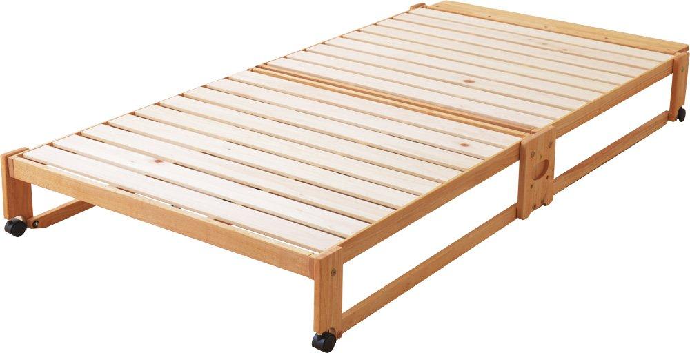 EMOOR 日本製 折りたためるヒノキのすのこベッド