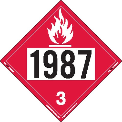 Labelmaster ZRV21987 UN 1987 Flammable Liquid Hazmat Placard, Rigid Vinyl (Pack of 25)