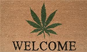 "Home & More 120511729 Cannabis Welcome Doormat, 17"" x 29"" x 0.60"", Multicolor"