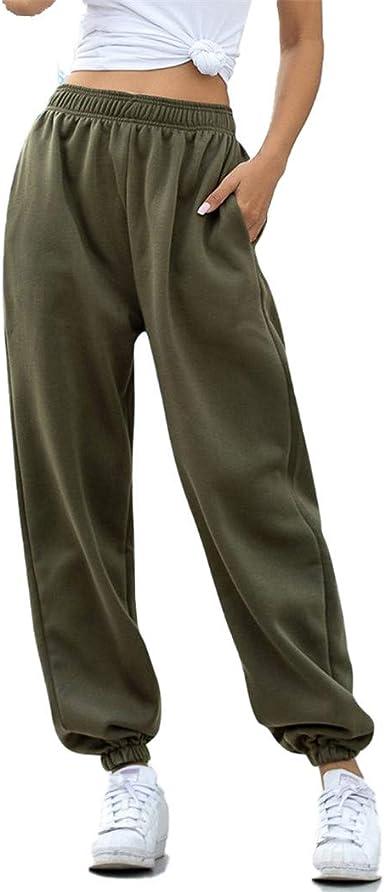 Pantalones De Chandal Mujer Pantalones Deportivos Grises Holgados Joggers Pantalones Anchos De Calle De Gran Tamano Pantalones De Cintura Alta Thin Green Xxl Amazon Es Ropa Y Accesorios