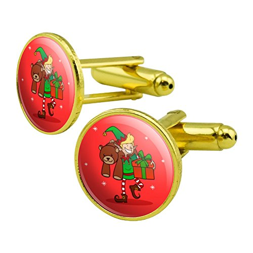 GRAPHICS & MORE Christmas Elf with Presents and Gifts Round Cufflink Set Gold Color - Christmas Holiday Cufflinks