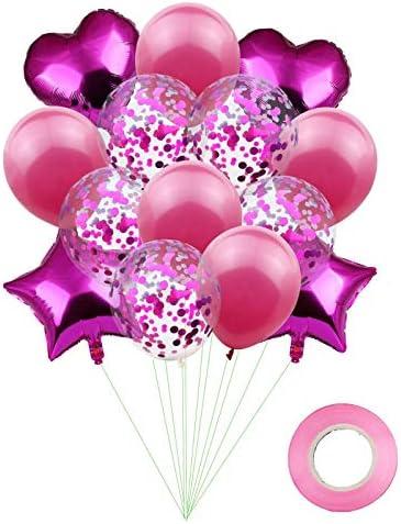 Liroyal 誕生日パーティーバルーン パーティーデコレーション バルーンキット バルーンベビーシャワー、結婚式、誕生日パーティー、パーティー 風船15ピースローズレッド ウェディングバルーン Rose Red