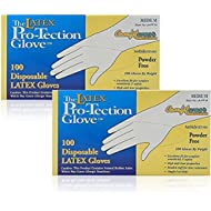 Comfitwear Disposable Latex Gloves, Powder Free, Medium, 200 Gloves (2 Boxes of 100 Gloves)