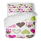 SanChic Duvet Cover Set Baby Childish Pattern Owls Hearts Love Adorable Animal Beautiful Decorative Bedding Set 2 Pillow Shams King Size