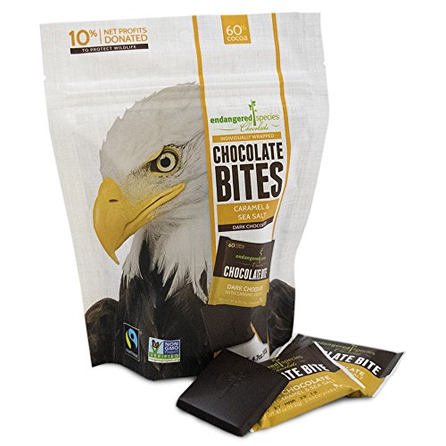 Endangered Species Dark Chocolate Bites, Caramel & Sea Salt, 4.2 Ounce (Pack of 12) ()
